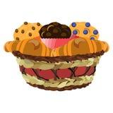 ?ozinowy kosz z s?odka bu?eczka i croissants, wektorowa p?aska ilustracja ilustracja wektor