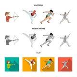 Łucznictwo, karate, bieg, ono fechtuje się Olimpijskiego sporta ustalone inkasowe ikony w kreskówce, mieszkanie, monochromu stylo royalty ilustracja