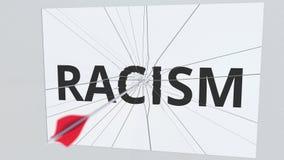 Łucznicza strzała uderza szklanego talerza z rasizmu tekstem konceptualny utylizacji 3 d ilustracji