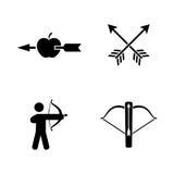 łuczniczki Proste Powiązane Wektorowe ikony ilustracja wektor