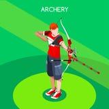 Łuczniczy gracza lata gier ikony set 3D Isometric Łuczniczy gracz ilustracji
