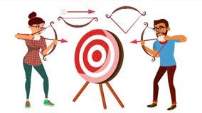 Łuczniczy pojęcie wektor Kobiety I mężczyzna strzelanina Od łęku W celu Łuczniczy gracza celowanie Przy celem Sport, wyzwanie ilustracji