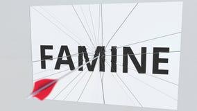Łuczniczy strzał przerw talerz z głodu tekstem, konceptualny 3D rendering royalty ilustracja