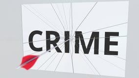 Łuczniczy strzał przerw talerz z przestępstwo tekstem, konceptualny 3D rendering ilustracji