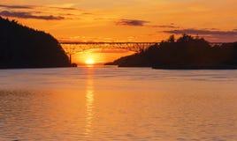 Łudzenie przepustki most przy zmierzchem obrazy royalty free