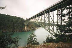 Łudzenie przepustki mosta skoki nad łudzeniem Przechodzą Przechodzić wyspę obrazy stock