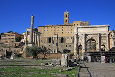 Łuk Septimius Severus przy Romańskim forum, Rzym, Włochy Zdjęcia Royalty Free