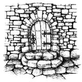 Łukowaty drzwi w kamiennej ścianie, scatch ilustracji