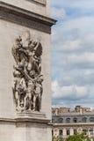 łuku de szczegółu fasada pokazywać statui triomphe Zdjęcia Stock