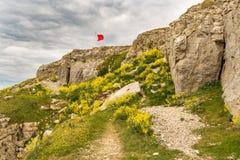 Łup ruiny przy St Aldhelm ` s głową, Jurajski wybrzeże, Dorset, UK obraz stock