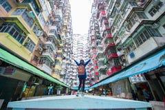 Łup zatoka Hong Kong, Styczeń, - 12, 2018: Stary mieszkanie w Hong Obraz Stock