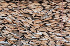 Łupka w woodpile łupka śnieg Tekstura łupka obrazy stock