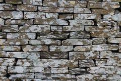 Łupkowa, sucha kamienna ściana, tekstura, tło Fotografia Royalty Free