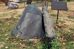 Łupkowy kamień: jest drobnoziarnista, laminująca, jednorodna metamorficzna skała czerpiąca od oryginalnego typu osadowa skała, da obrazy stock