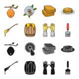 Łyżka miód, ochronne rękawiczki, baryłka miód, rozwidlenie Pasiek ustalone inkasowe ikony w czerni, kreskówka stylowy wektor ilustracja wektor