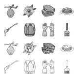 Łyżka miód, ochronne rękawiczki, baryłka miód, rozwidlenie Pasiek ustalone inkasowe ikony w konturze, monochromu styl royalty ilustracja