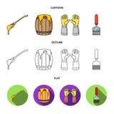 Łyżka miód, ochronne rękawiczki, baryłka miód, rozwidlenie Pasiek ustalone inkasowe ikony w kreskówce, kontur, mieszkanie styl royalty ilustracja