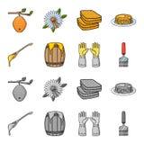 Łyżka miód, ochronne rękawiczki, baryłka miód, rozwidlenie Pasiek ustalone inkasowe ikony w kreskówce, monochromu styl ilustracja wektor