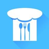 Łyżka, rozwidlenie, nóż i szefa kuchni kapelusz, ilustracji