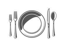 Łyżka, rozwidlenie, nóż i talerz, ilustracji