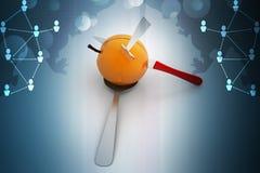 Łyżka z jabłkiem ilustracja wektor