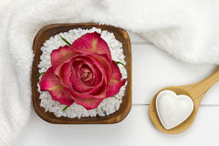 Łyżka z kąpielowym fizzer i kąpielową solą zdjęcia royalty free