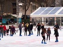 Łyżwiarski lodowisko w Zagreb Zdjęcia Royalty Free