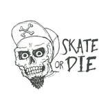 Łyżwowy lub kostkowy literowanie tatuażu projekt Łyżwiarki scull Zdjęcie Royalty Free