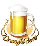 Łyknięcia piwa etykietka i miotacz zimny piwo ilustracja wektor