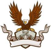 Łysy Eagle Krzyżował 45 kaliber krócic osłonę Retro ilustracja wektor
