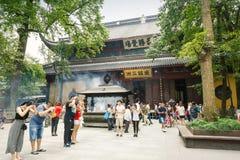 ¼ Œ för famousï för buddistisk tempel för Hangzhou lingyintempel i Kina arkivbild