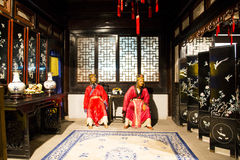 ¼ ŒHistorical de Palaceï de la figura de cera de Asia China, de Pekín Minghuang y paisaje cultural de Ming Dynasty en China Fotos de archivo