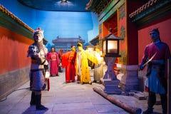 ¼ ŒHistorical de Palaceï de la figura de cera de Asia China, de Pekín Minghuang y paisaje cultural de Ming Dynasty en China Foto de archivo