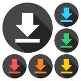 Ściąga ikonę, Upload guzika, Obciążeniowy symbol ustawiający z długim cieniem Zdjęcie Stock