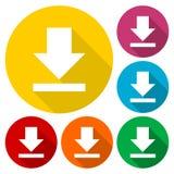 Ściąga ikonę, Upload guzika, Obciążeniowy symbol ustawiający z długim cieniem Zdjęcie Royalty Free