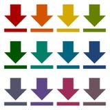 Ściąga ikonę, Upload guzika, Obciążeniowy symbolu set Zdjęcia Stock