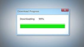 Ściąga postęp prawie robić, dialog pudełko z zielonym statusu barem, uaktualnienie programu Obraz Royalty Free