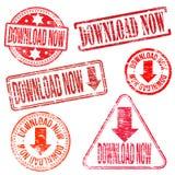 Ściągania Teraz znaczki Zdjęcia Royalty Free