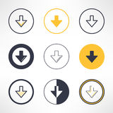 Ściąganie ikony ustawiać w różnym projekcie Czyści i Zdjęcie Stock