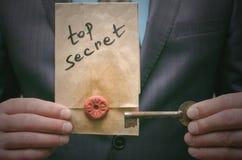 Ściśle tajny wiadomości pojęcie Super ważna informacja Poufny dossier Decryption klucz Zdjęcie Stock