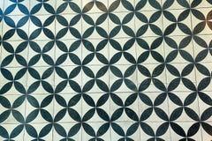 Ścian płytki z powtórkowym czarny i biały kurenda wzorem obraz royalty free