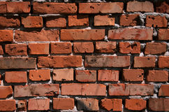 Ściana średniowieczny kasztel z czerwonej gliny cegłami Zdjęcie Royalty Free