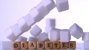 Ściana cukrowi sześciany spada nad kostka do gry literuje out cukrzyce zbiory wideo