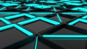 Ściana czarne prostokąt płytki z błękitnymi rozjarzonymi elementami zbiory wideo