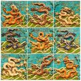 Ściana Dziewięć smoków w Niedozwolonym mieście, Pekin Zanim Południowa brama Niedozwolony miasto stoi sławną ścianę Dziewięć Dr obrazy stock