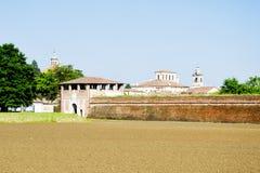 Ściana humanistyczny idealny miasto vespasiano gonzaga Hystorical miasto Sabbioneta, Włochy - fotografia stock