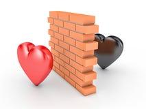 Ściana i dwa serca ilustracja wektor