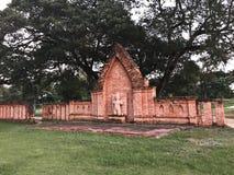 Ściana Kambodżański sztuki lub Khmer sztuki kamienia cyzelowanie Zdjęcia Royalty Free