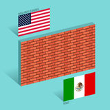 Ściana między Stany Zjednoczone i Meksyk granicą ściany pojęcia wektoru ilustracja Zdjęcie Stock