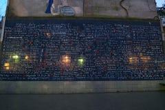 Ściana miłości lub Le Mur Des je t ` aime w ranku wcześnie Obraz Royalty Free